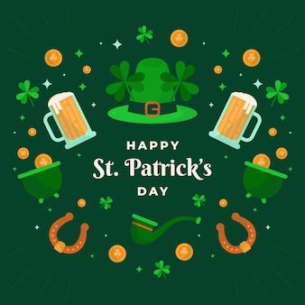 Szczęśliwy św. patrick's day ilustracja z kapeluszem i piwem