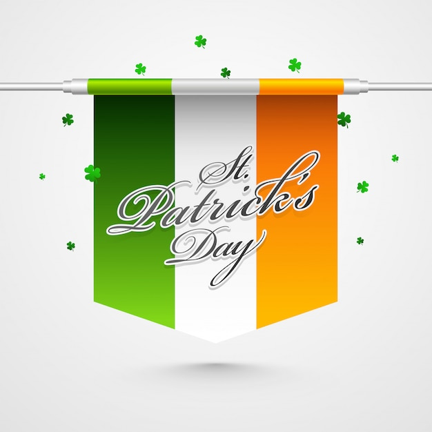 Szczęśliwy św. patricks day card with ireland flag and shamrock leaves on white
