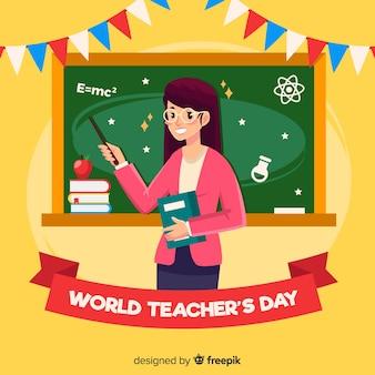 Szczęśliwy światowego nauczyciela dnia tło z żeńskim nauczycielem i blackboard