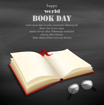 Szczęśliwy światowy dzień książki z pustą książką
