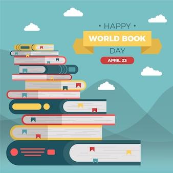 Szczęśliwy światowy dzień książki ze stosami książek