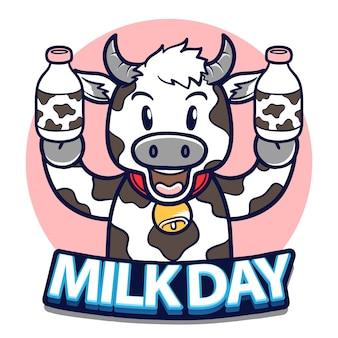 Szczęśliwy światowy dzień mleka z krową trzymając butelkę mleka