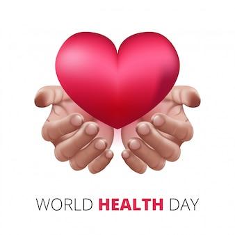Szczęśliwy światowy dzień zdrowia, ludzkie ręce trzymając serce miłości. realistyczny styl 3d. pojęcie opieki zdrowotnej i medycznej.