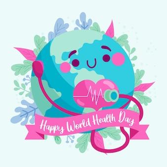 Szczęśliwy światowy dzień zdrowia z planetą słuchającą jego serca