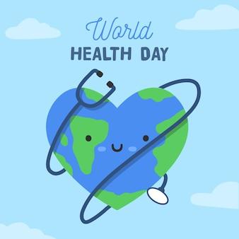 Szczęśliwy światowy dzień zdrowia z uśmiechniętą twarz i stetoskop