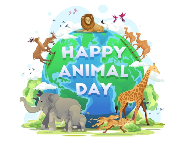 Szczęśliwy światowy dzień zwierząt dzień dzikiej przyrody zwierzęta na planecie rezerwat dzikiej przyrody ilustracja wektorowa