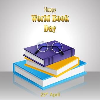 Szczęśliwy światowy książkowy dzień z stertą książki na białym tle