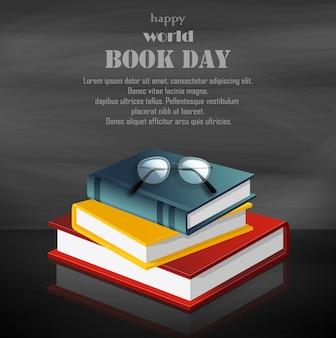 Szczęśliwy światowy książkowy dzień z stertą książki na czarnym tle