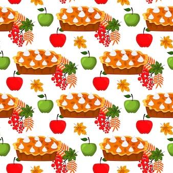 Szczęśliwy święto dziękczynienia projekt kreskówka jesień pozdrowienie sezon żniw wakacje bezszwowe tło wektor ilustracja. tradycyjne jedzenie obiad sezonowy dzięki dając plakat.