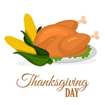 Szczęśliwy święto dziękczynienia projekt kreskówka jesień pozdrowienie sezon żniw wakacje transparent wektor ilustracja. tradycyjne jedzenie obiad sezonowy dzięki dając plakat.