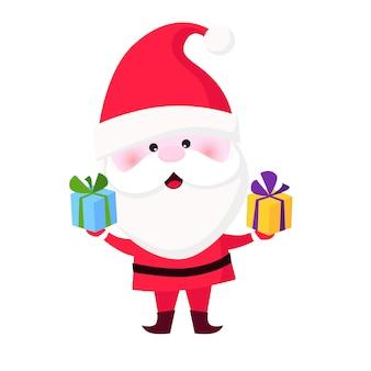 Szczęśliwy święty mikołaj daje bożenarodzeniowym prezentom