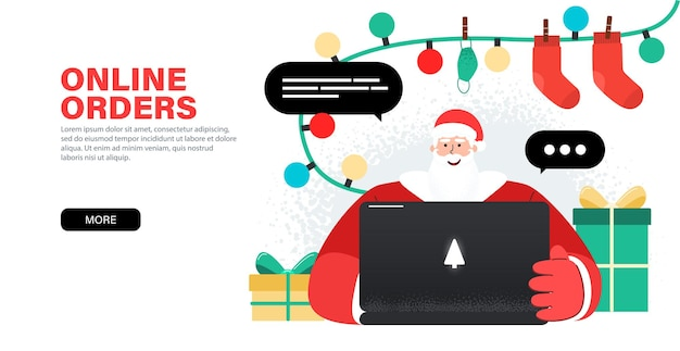 Szczęśliwy święty mikołaj pracuje z laptopem, przyjmuje zamówienia, gratulacje online
