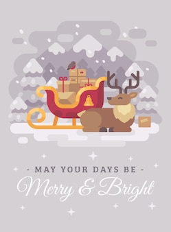 Szczęśliwy święty mikołaj renifer blisko sania z teraźniejszość. bożenarodzeniowy kartka z pozdrowieniami mieszkania ilus
