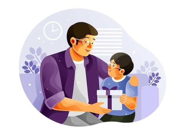 Szczęśliwy syn daje ojcu prezent