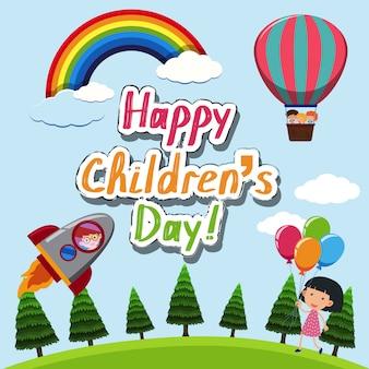 Szczęśliwy szablon dla dzieci