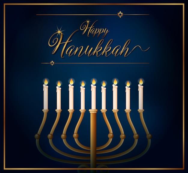 Szczęśliwy szablon karty hannukkah ze świecami na niebieskim tle
