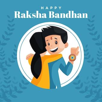 Szczęśliwy szablon projektu banera festiwalu indyjskiego raksha bandhan