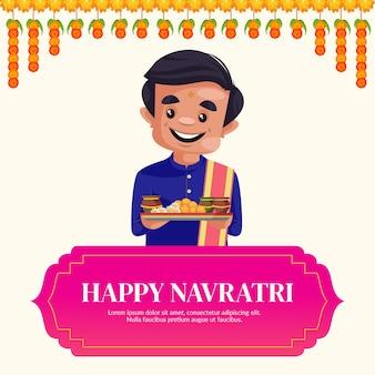 Szczęśliwy szablon projektu banera indyjskiego festiwalu navratri