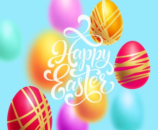 Szczęśliwy szablon tło wielkanoc z napisem z kolorowymi jajkami. ilustracja wektorowa eps10