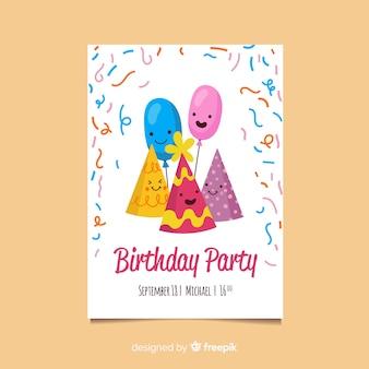 Szczęśliwy szablon zaproszenia na urodziny