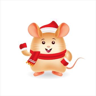 Szczęśliwy szczur z czerwoną nakrętką i czerwonym scraf z odosobnionym tłem
