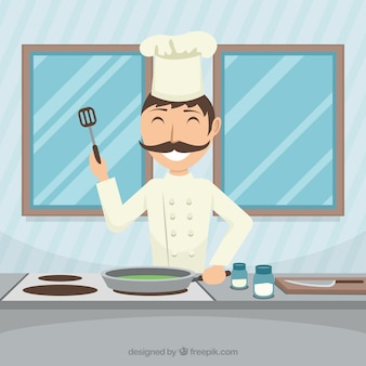 Szczęśliwy szef kuchni gotowania