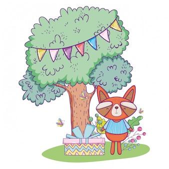Szczęśliwy szop pracz urodziny z partyjnym sztandarem w drzewie