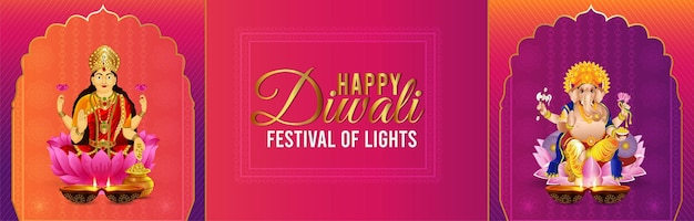 Szczęśliwy sztandar obchodów diwali z ilustracją lorda ganeśy i bogini lakshami