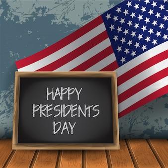 Szczęśliwy tablica obchodów dnia prezydentów z flagą narodową usa