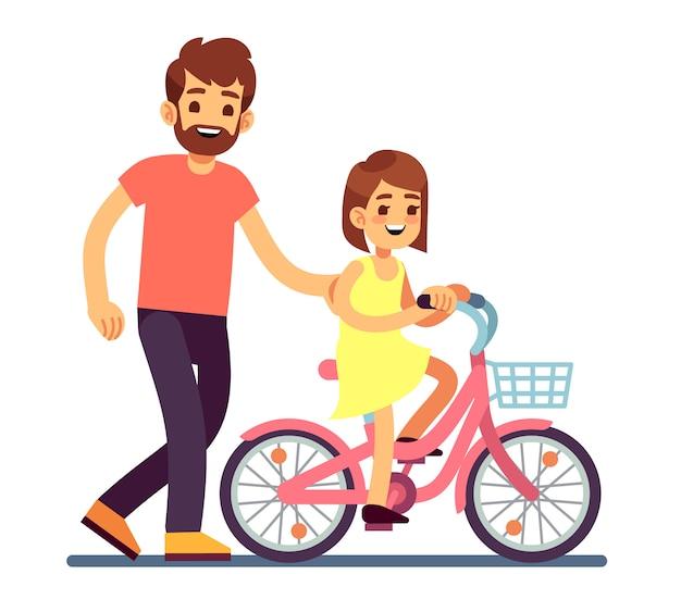 Szczęśliwy tata uczy córki roweru rower. szczęśliwa rodzina wektor koncepcja na białym tle