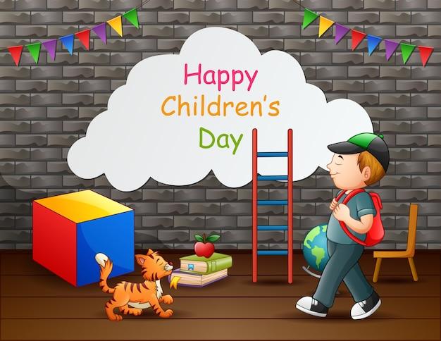 Szczęśliwy tekst dzień dziecka z chłopcem i zwierzakiem