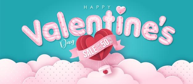 Szczęśliwy tekst pozdrowienia walentynki z balonem w stylu papieru