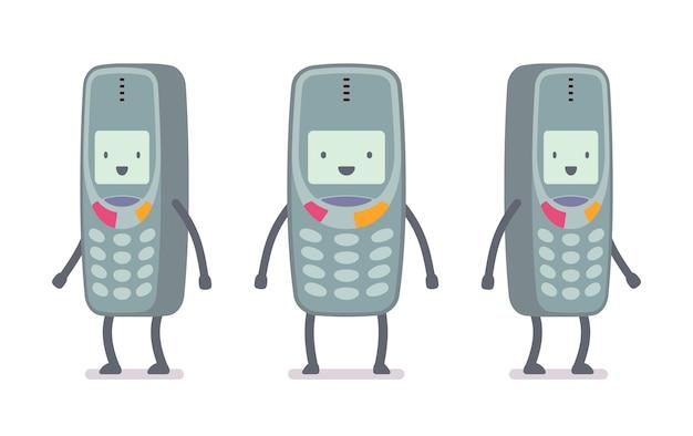 Szczęśliwy telefon komórkowy retro