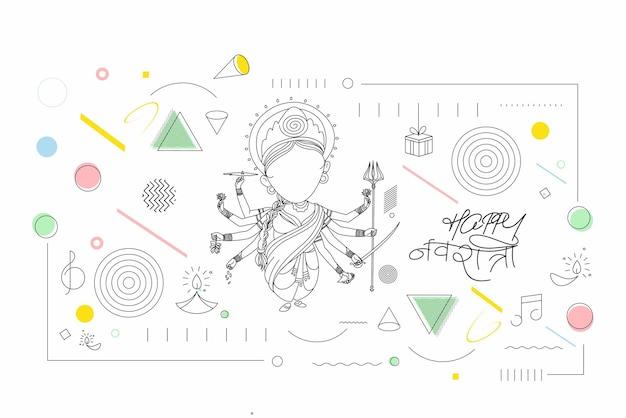 Szczęśliwy tło durga puja bogini durga ręka stylowy tekst hindi dla festiwalu hinduskiego shubh navratri lub durga pooja, ręcznie rysowane grafiki wektorowej linii.