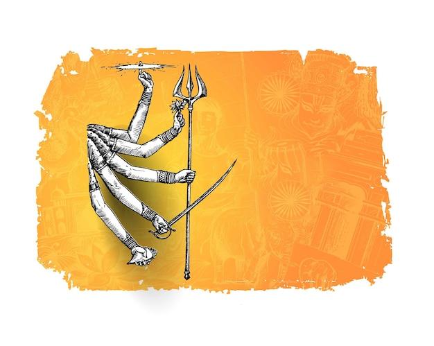 Szczęśliwy tło durga puja bogini durga ręka stylowy tekst hindi dla hinduskiego festiwalu shubh navratri lub durga pooja.
