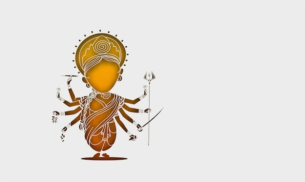 Szczęśliwy tło durga puja bogini durga ręka stylowy tekst hindi na festiwal hinduski shubh navratri lub durga pooja,