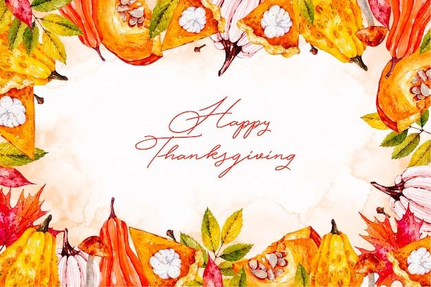 Szczęśliwy tło dziękczynienia akwarela