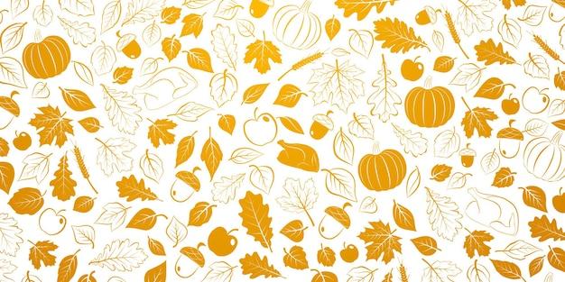 Szczęśliwy tło dziękczynienia z jesiennymi liśćmi, warzywami i indykiem, pomarańczowy na białym