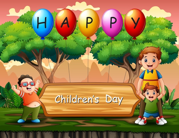 Szczęśliwy tło dzień dziecka z szczęśliwych chłopców