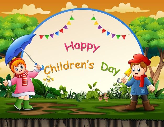Szczęśliwy tło dzień dziecka z szczęśliwych dzieci