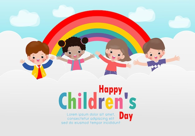 Szczęśliwy tło dzień dziecka ze szczęśliwymi dziećmi, skoki na chmurach