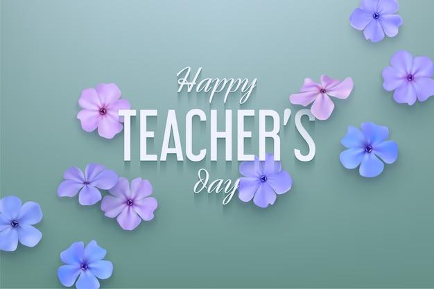 Szczęśliwy tło dzień nauczyciela z delikatnymi kwiatami.