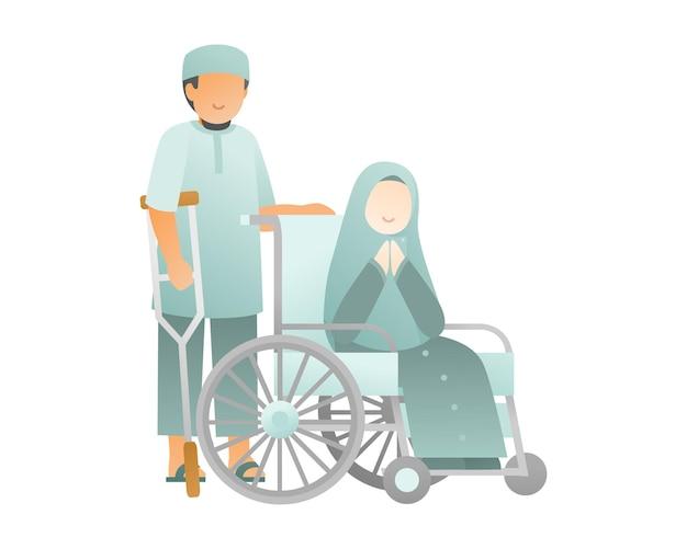 Szczęśliwy tło eid al adha z muzułmańską rodziną siedzieć na wózku inwalidzkim