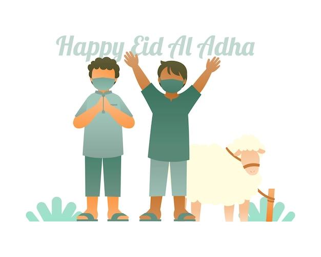 Szczęśliwy tło eid al adha z uroczymi dziećmi i ilustracjami owiec