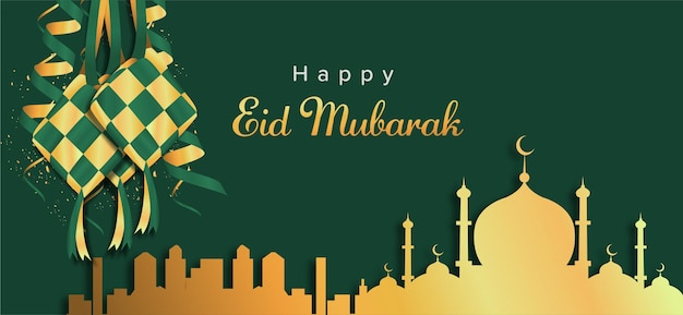 Szczęśliwy tło eid mubarak z złoty meczet