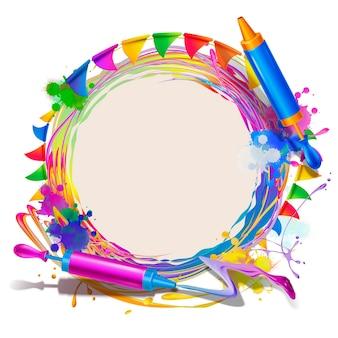 Szczęśliwy tło festiwalu holi z wirującą kolorową farbą i szablonem karty pichkari