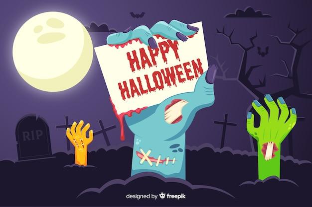 Szczęśliwy tło halloween rękami zombie
