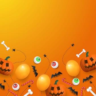 Szczęśliwy tło halloween z dyni, oczu i balonu