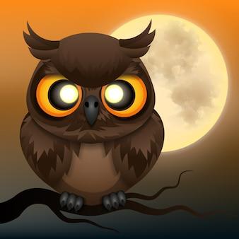 Szczęśliwy tło halloween z sową