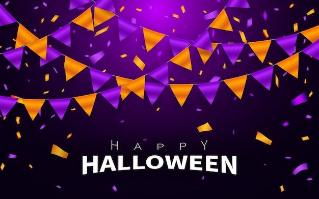 Szczęśliwy tło karnawał halloween. pomarańczowy fioletowy girlanda z flagami, koncepcja konfetti na imprezę. uroczystość